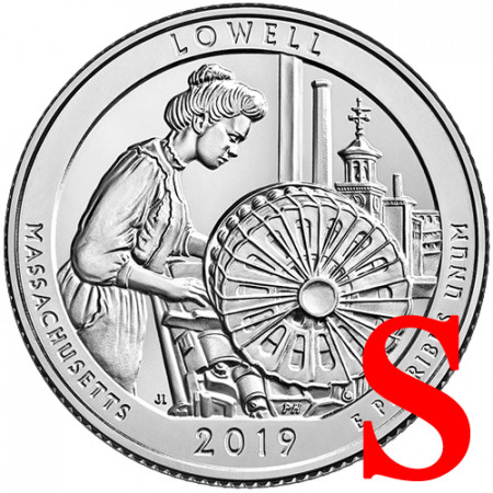 """2019 * Quart de Dollar (25 Cents) États-Unis """"Lowell Park - Massachusetts"""" S UNC"""