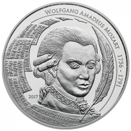 "2017 * 5 Dollars Argent 1 OZ Palaos ""Wolfgang A Mozart"" BU"