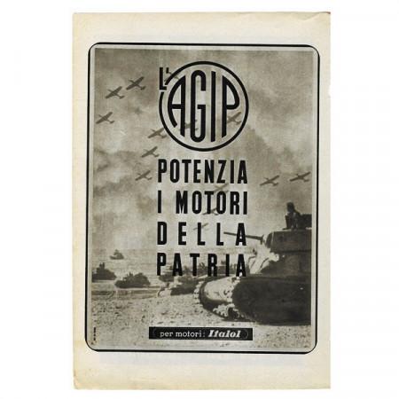 """1942 * Publicité Original Essence AGIP """"Motori della Patria - Seconde Guerre Mondiale"""" Blanc/Noir"""