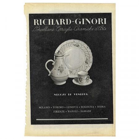 """1942 * Publicité Original Céramique Richard-Ginori """"Porcellane"""" Blanc/Noir"""
