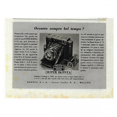 """1941 * Publicité Original Photographie Zeiss """"Super Ikonta"""" Blanc/Noir"""