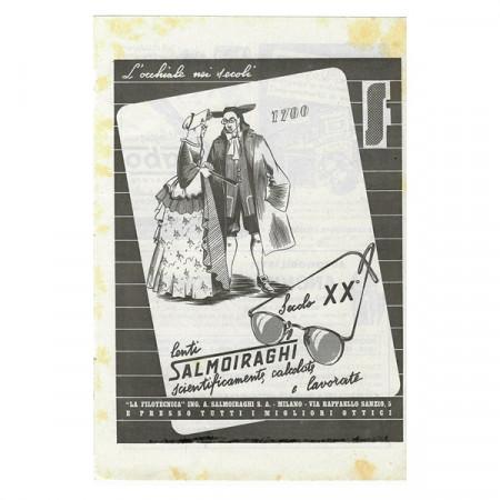 """1941 * Publicité Original Optique Lenti SALMOIRAGHI """"Occhiale nei Secoli"""" Blanc/Noir"""