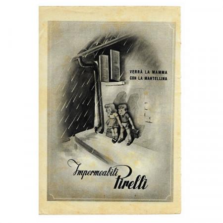 """1943 * Publicité Original Imperméable PIRELLI """"Mantellina"""" Blanc/Noir"""