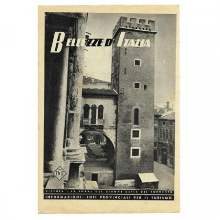 """1943 * Publicité Original Tourisme """"Bellezze d'Italia - VICENZA"""" Blanc/Noir"""