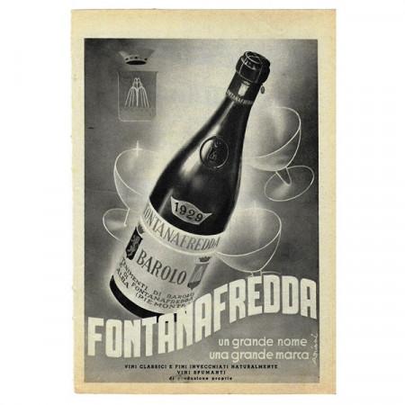"""1943 * Publicité Original Vin """"FONTANAFREDDA - Barolo"""" Blanc/Noir"""