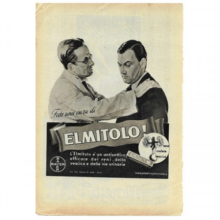 """1943 * Publicité Original Pharmaceutique """"BAYER - Elmitolo"""" Blanc/Noir"""