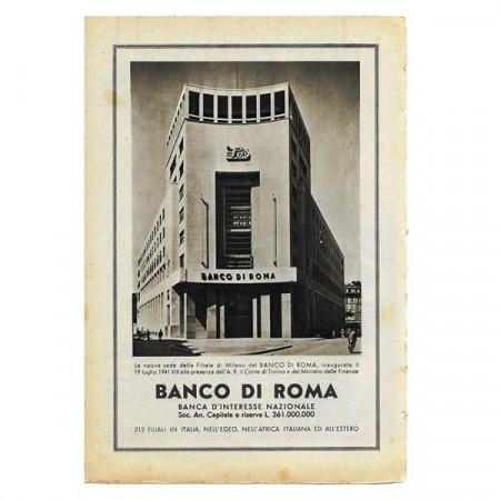 """1942 * Publicité Original Finance """"Banco di ROMA"""" Blanc/Noir"""