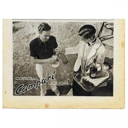 """1942 * Publicité Original Alcool """"CAMPARI - Cordial"""" Blanc/Noir"""