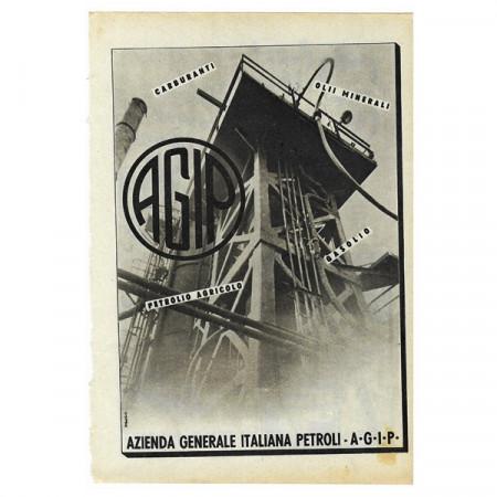 """1942 * Publicité Original Essence """"AGIP"""" Blanc/Noir"""