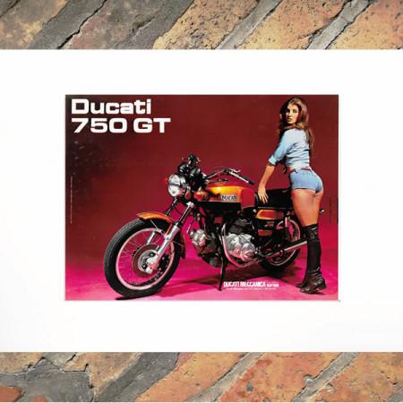 """1970 * Publicité Original """"Moto - Ducati 750 GT"""" Couleur dans Passepartout"""