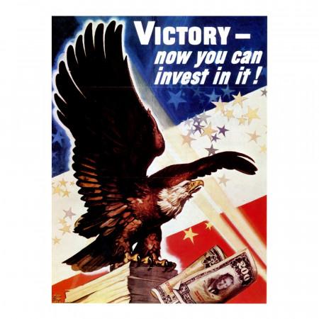 """ND (WWII) * Propagande de Guerre Reproduction """"USA - La Vittoria Ora È Un Affare"""" dans Passepartout"""