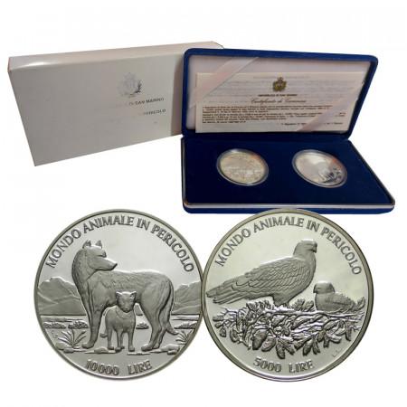 """1996 * Diptyque 5000 + 10.000 Lire Saint Marin """"Animaux à Via Extinction"""" (KM 340 341) BE"""
