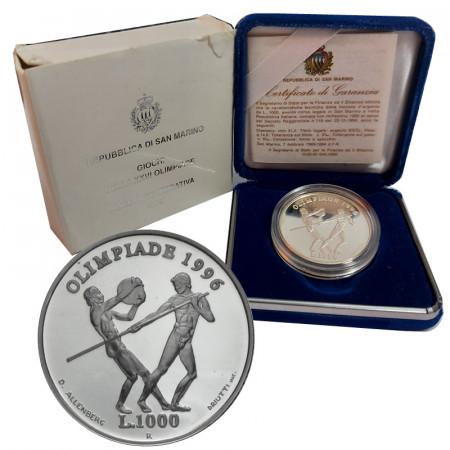 """1995 * 1000 Lire Argent Saint Marin """"XXVI Jeux Olympiques"""" (KM 332) BE"""