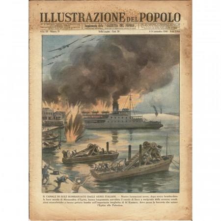 """1940 * Magazine Historique Original """"Illustrazione del Popolo (N°37) - Bombardamento Italiano sul Canale di Suez"""""""
