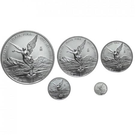 1997 * Mexique set 5 Onces en argent Libertad
