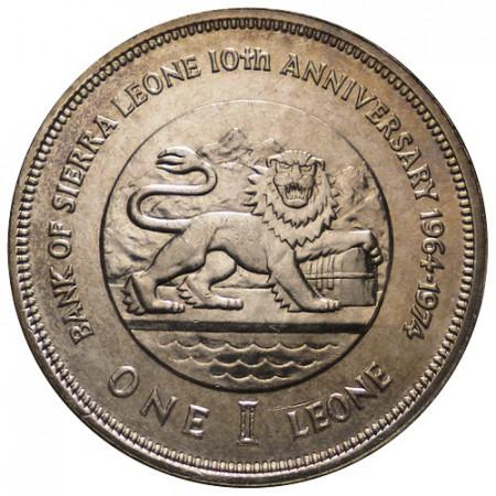 """1974 * 1 Leone Sierra Leone """"10e Anniversaire de la Banque Nationale"""" (KM 26) UNC"""