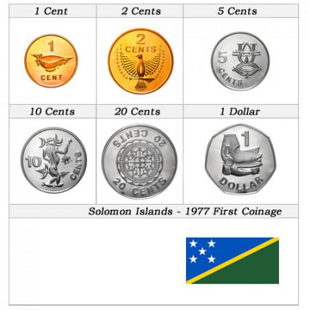 1977 * Série 6 pièces îles Salomon Première émission