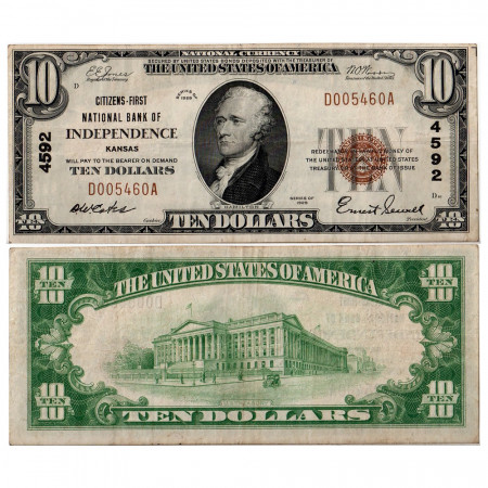 1929 * Billet États-Unis 10 dollars TTB Kansas