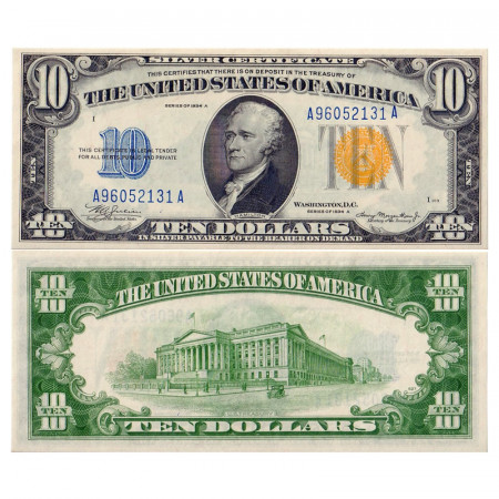 "1934 A * Billet États-Unis 10 Dollars Afrique du Nord ""Yellow Seal"" NEUF-"