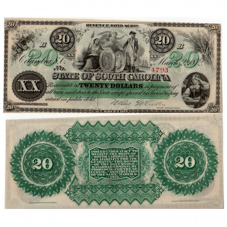 1872 * Billet State of South Carolina 20 dollars SUP