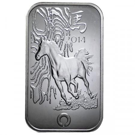 """2014 * Afrique du Sud Lingot en argent 999 1 OZ """"An du Cheval"""""""
