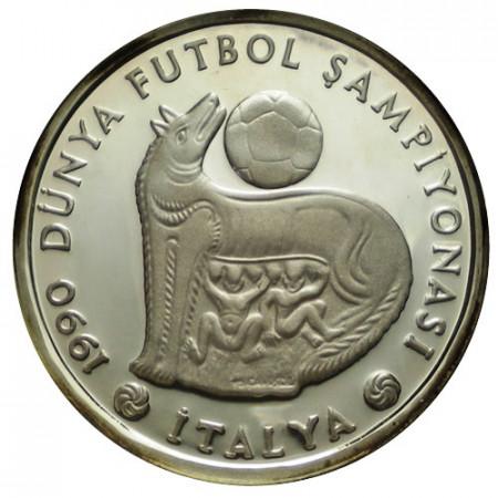 "1990 * 20.000 Lira Argent Turquie ""Coupe du Monde 1990, Italie"" (KM 995) BE"