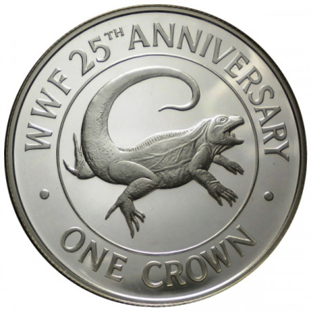 """1988 * 1 Crown Argent Îles Turks-et-Caïcos """"25e Fondation WWF"""" (KM 64a) BE"""