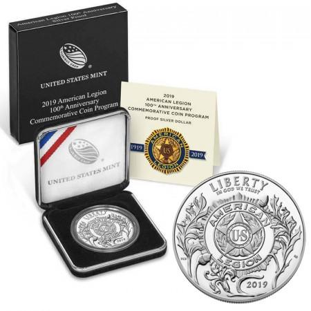 "2019 P * 1 Dollar Argent États-Unis ""American Legion - 100th Anniversary"" (KM New) BE"