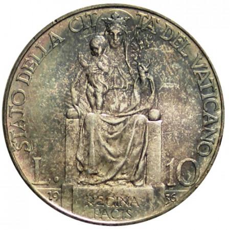 """1936 XV * 10 Lire Argent Vatican """"Pie XI - Vierge de la Paix"""" (KM 8) FDC"""