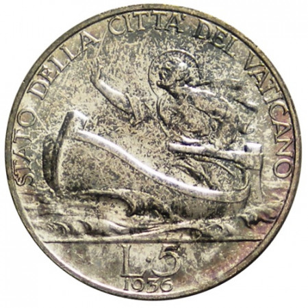"1936 XV * 5 Lire Argent Vatican ""Pie XI - Saint-Pierre"" (KM 7) FDC"