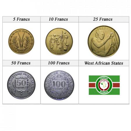 Ans Divers * Série 5 pièces États Afrique de l'Ouest
