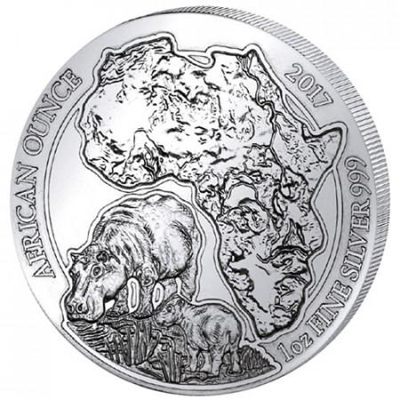 "2017 * 50 RWF Argent 1 OZ Rwanda ""Hippopotame"" BU"