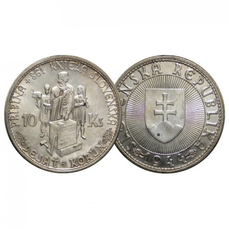 "1944 * 10 Korun Argent Slovaquie ""Pribina"" (p9.1) FDC"