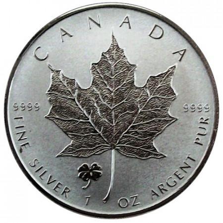"""2016 * 5 Dollars Argent 1 OZ Feuille Erable Canada """"Trèfle à Quatre Feuilles"""" Privy Mark"""