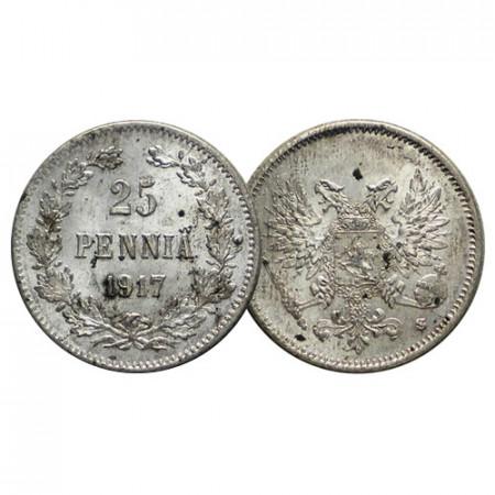 "1917 S * 25 Pennia Argent FINLANDE ""Grand-Duché - Empire Russe"" (KM 6.2) SUP+"