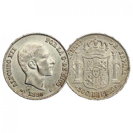 """1885 * 50 Centimos de Peso Argent Philippines """"Colonie Espagnole - Alphonse XII"""" (KM 150) SUP"""
