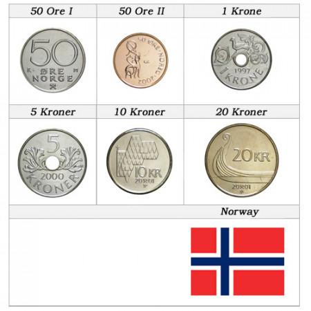 """Mix * Série 6 Monnaies Norvège """"Kroner"""" UNC"""