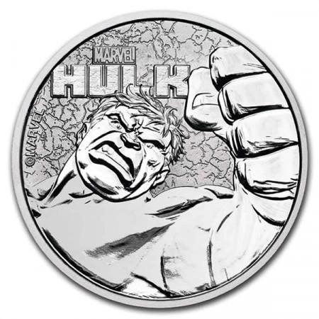 """2020 * 1 Dollar Argent 1 OZ Tuvalu """"Marvel - Hulk"""" BU"""