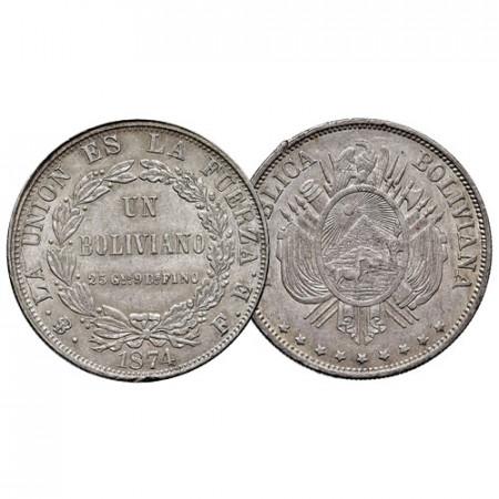 1874 * 1 Boliviano Argent Bolivie (KM 160.1) SUP