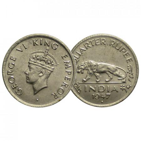 """1947 (b) * 1/4 Rupee Inde Britannique """"George VI"""" (KM 548) FDC"""