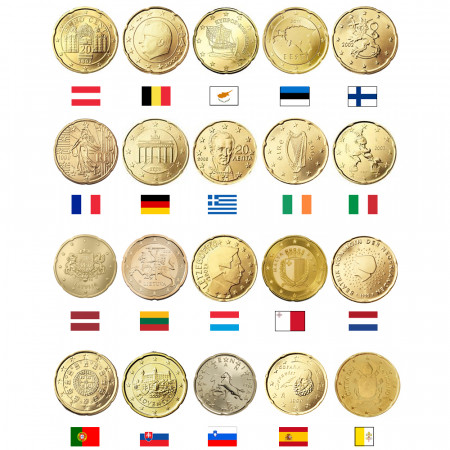 MIX * Lot 20 x 20 Cents Euro Autriche -> Vatican UNC