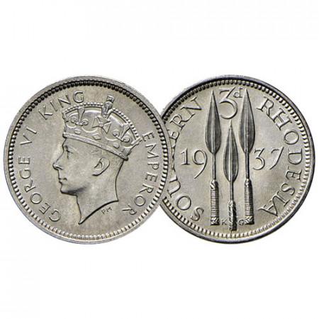 "1937 * 3 Pence Argent Rhodésie du Sud - Southern Rhodesia ""George VI"" (KM 9) FDC"