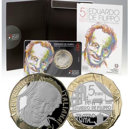 "2020 * 5 Euro Bimétallique ITALIE ""Grands Artistes Italiens - Eduardo De Filippo"" BE"
