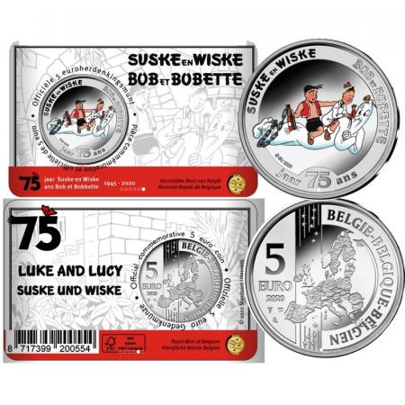 """2020 * 5 Euro BELGIQUE """"75 Ans Suske En Wiske (Luke And Lucy)"""" Coincard BU Coloré"""