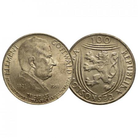 """ND (1951) * 100 Korun Argent Tchécoslovaquie """"30e Anniversaire - Communist Party"""" (KM 33) SUP"""