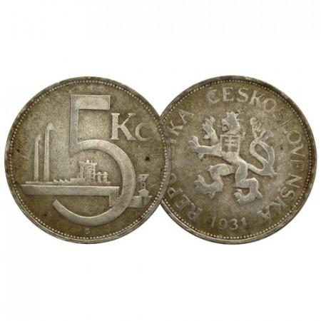 "1931 * 5 Korun Argent Tchécoslovaquie ""Czeck Lion"" (KM 11) TB"