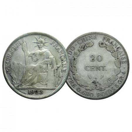 "1923 A * 20 Cents Argent Indochine Française - French Indochina ""Liberté Assise"" (KM 17.1) prTTB"