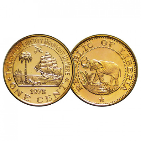 "1978 FM * 1 Cent Liberia ""Éléphant - Ship"" (KM 13) BE"