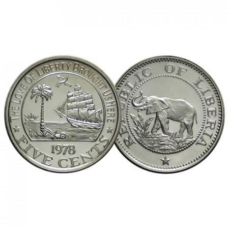 """1978 FM * 5 Cents Liberia """"Éléphant - Ship"""" (KM 14) BE"""