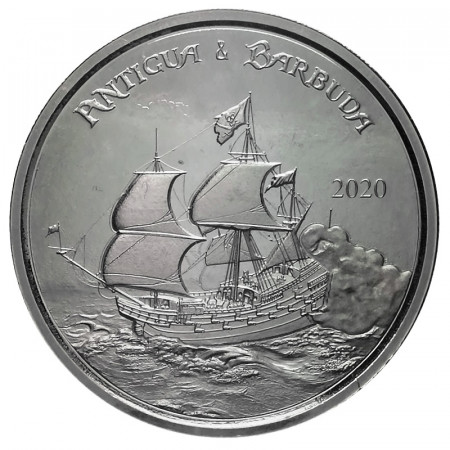 "2020 * 2 Dollars Argent 1 OZ Eastern Caribbean - Antigua et Barbuda ""Sailing Ship"" BU"